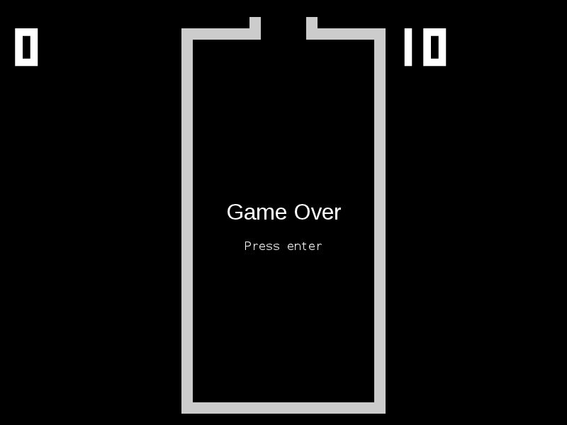 Our simplistic game over screen